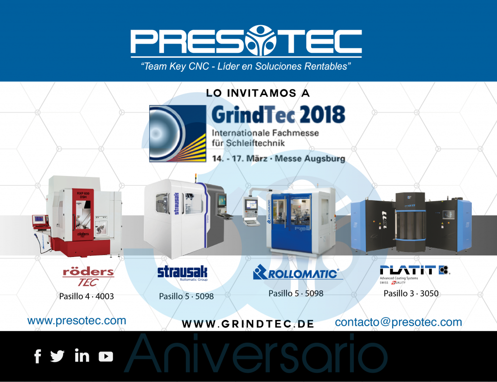 GrindTec 2018, Augsburgo Alemania 14 al 17 Marzo 2018